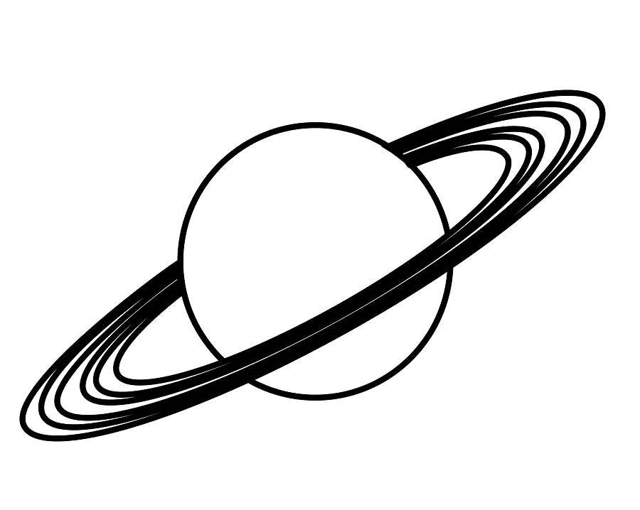 Saturn Clipart Black and White 2