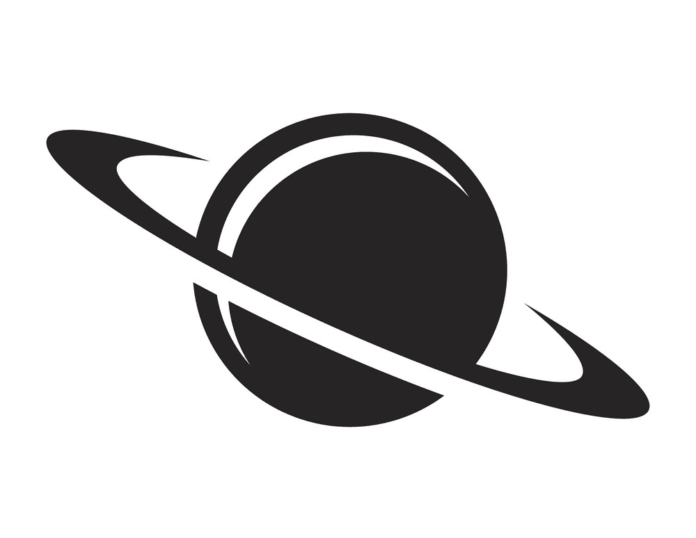 Saturn Clipart Black and White