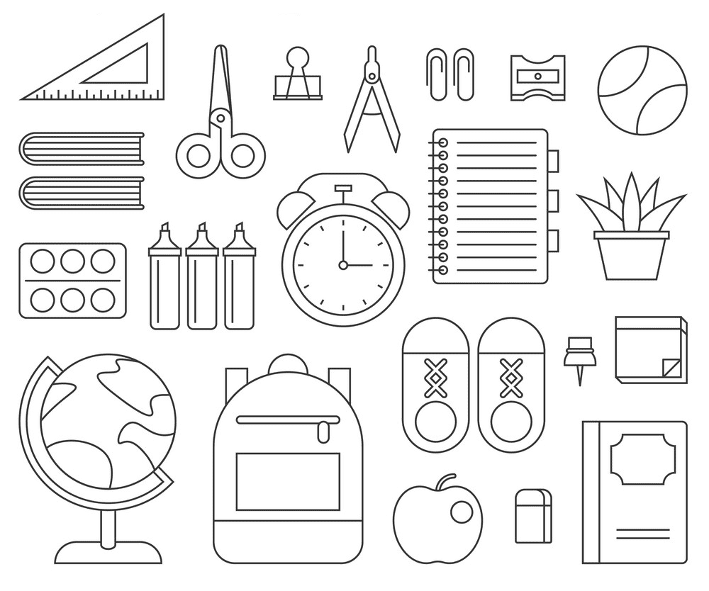 School Supplies Clipart Black and White 3