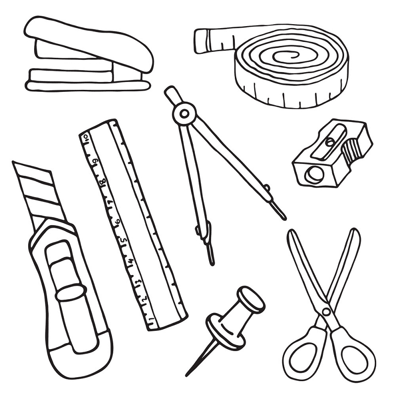School Supplies Clipart Black and White 5