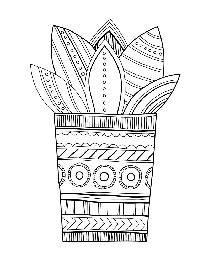 Succulent Clipart Black and White 4