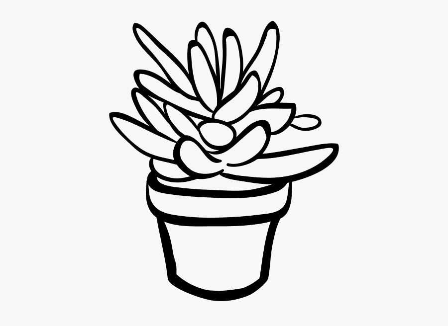Succulent Clipart Black and White