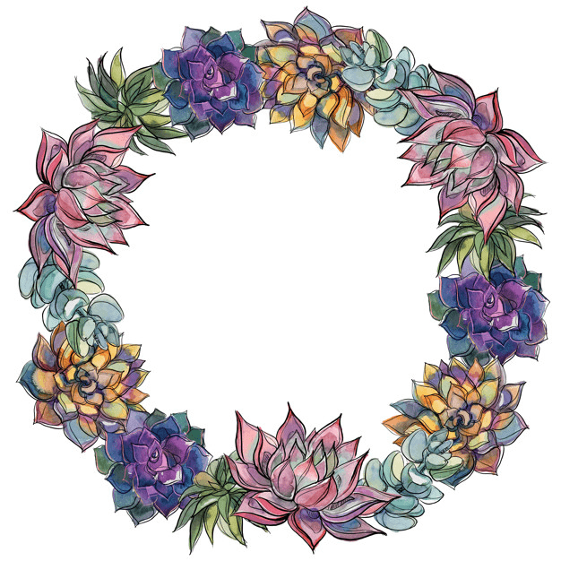 Succulent Wreath clipart 3