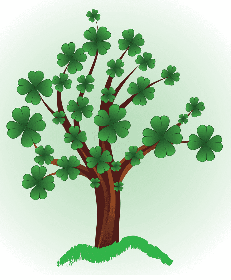 Tree with Four Leaf Clover clipart