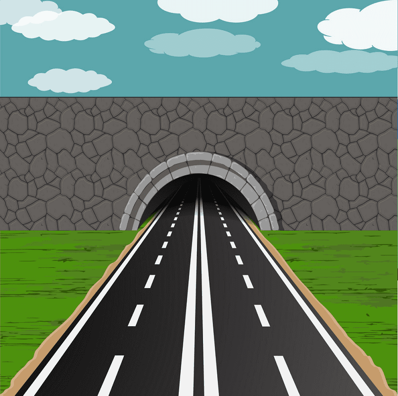 Tunnel with Road clipart