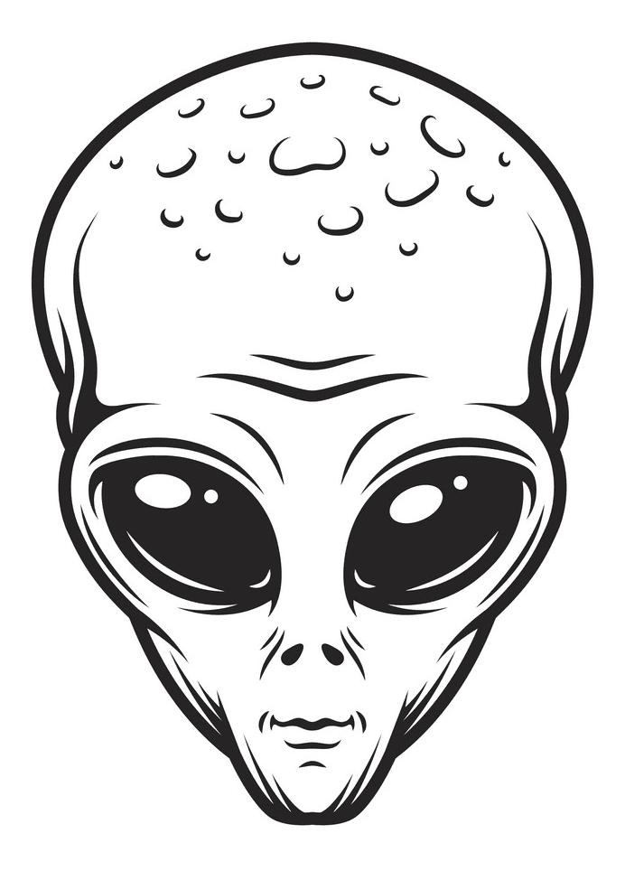 Vintage Alien Head clipart