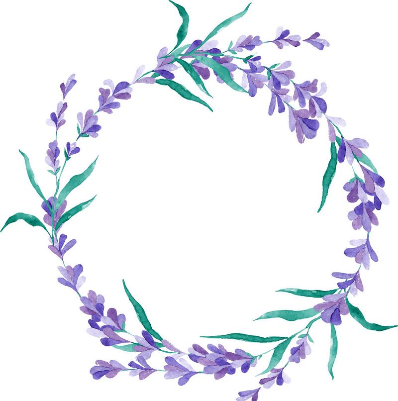 Watercolor Lavender Wreath clipart free
