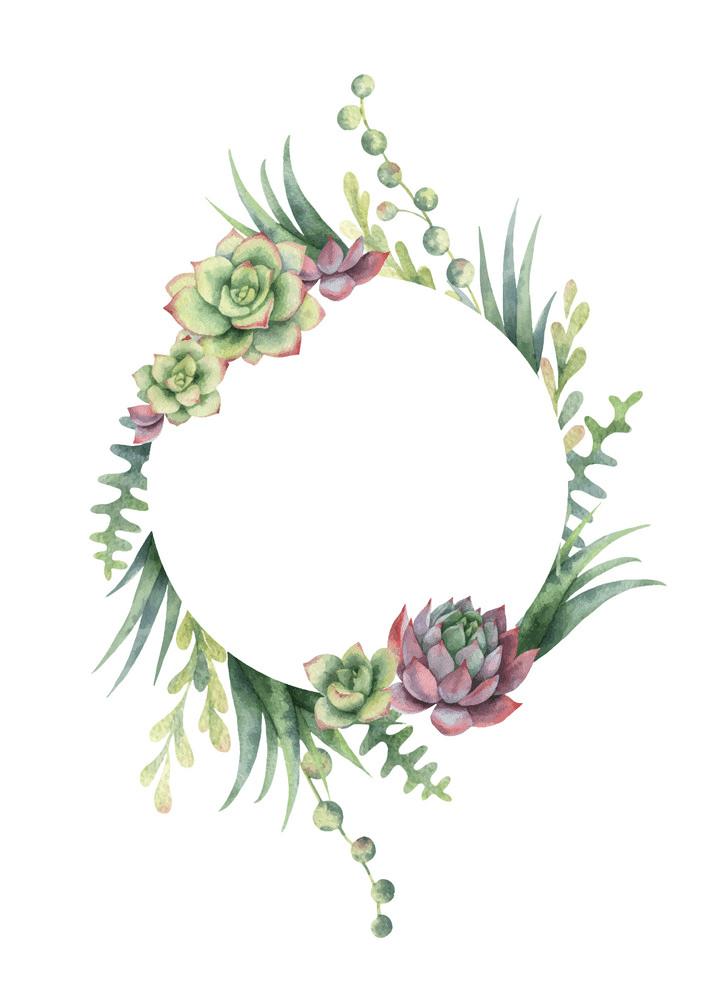 Watercolor Succulent Wreath clipart