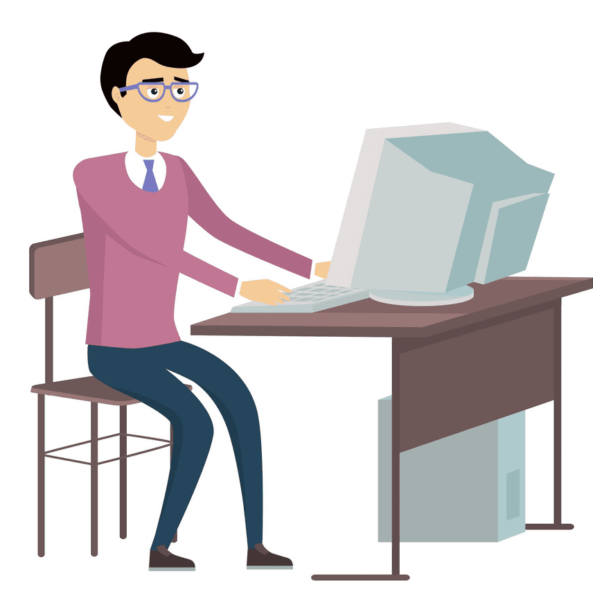 Working on Computer clipart png