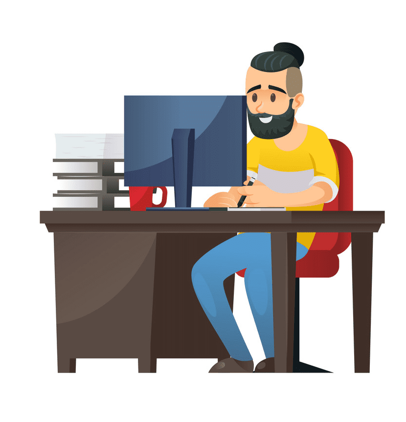 Working on Computer clipart
