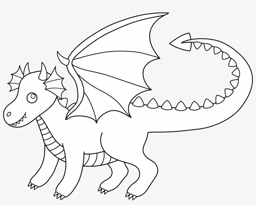 Cute Dragon Black and White clipart