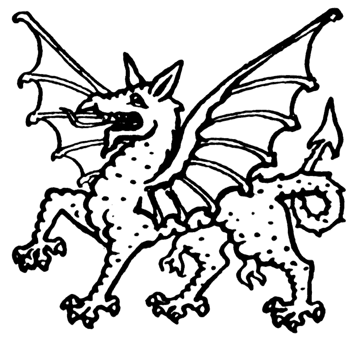 Dragon Black and White clipart 1