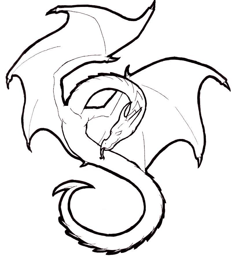 Dragon Black and White clipart 4