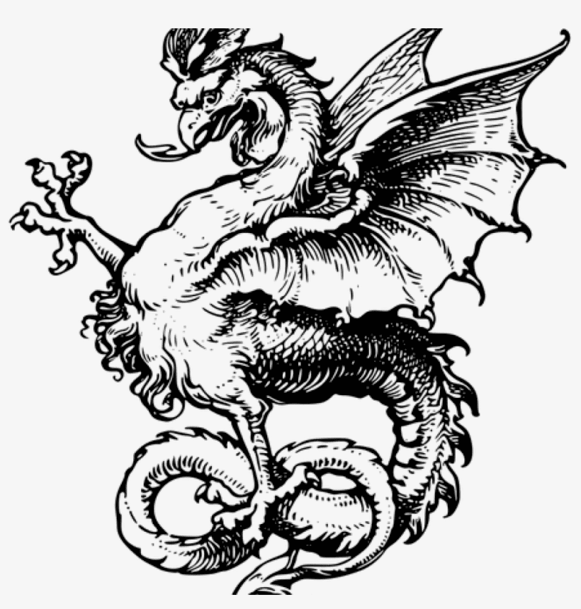 Dragon Black and White clipart 6