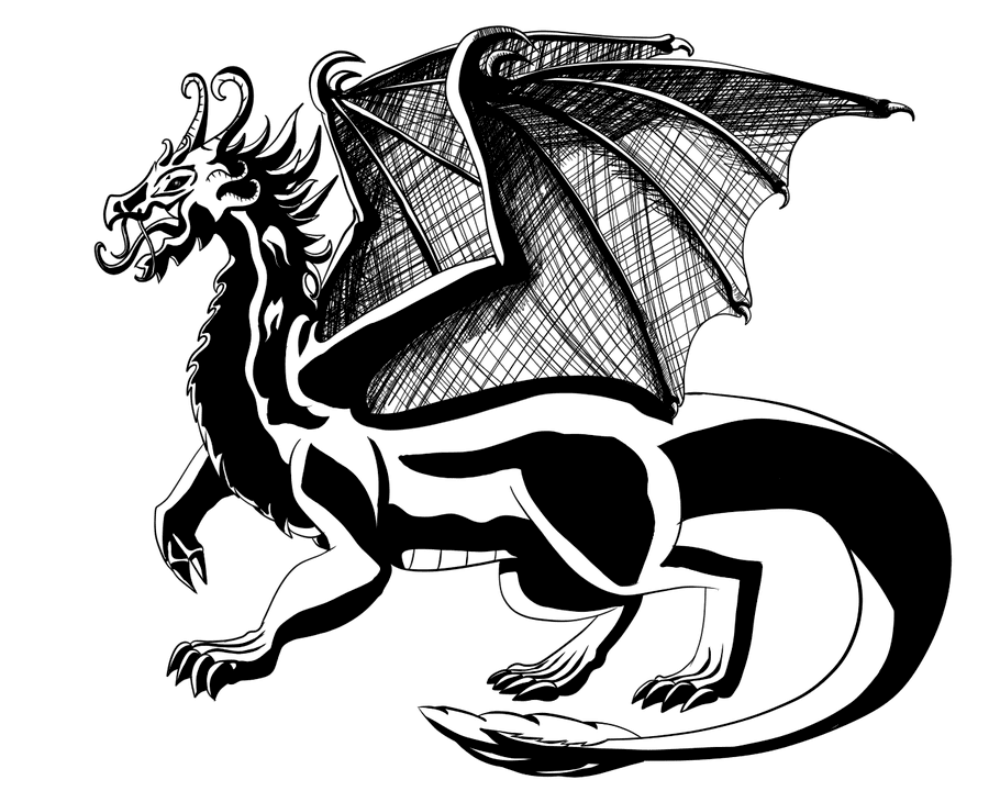 Dragon Black and White clipart 7