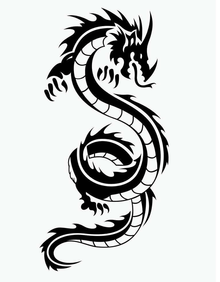 Dragon Black and White clipart free