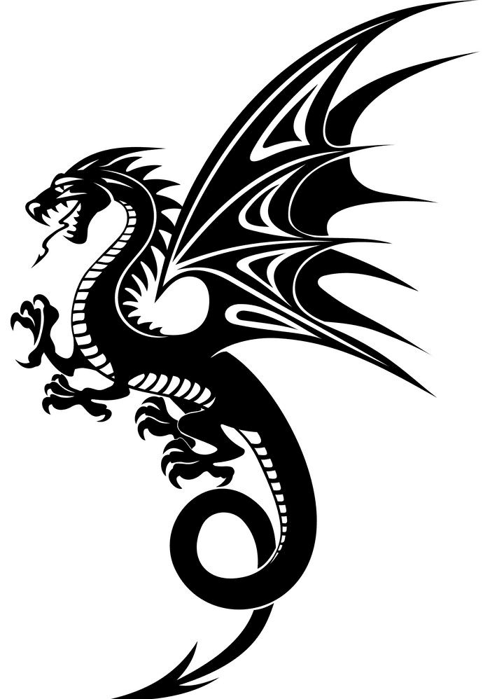 Dragon Black and White clipart