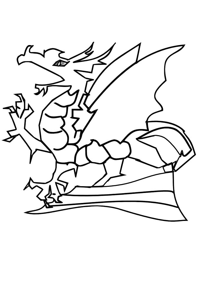 Dragon Clipart Black and White 3
