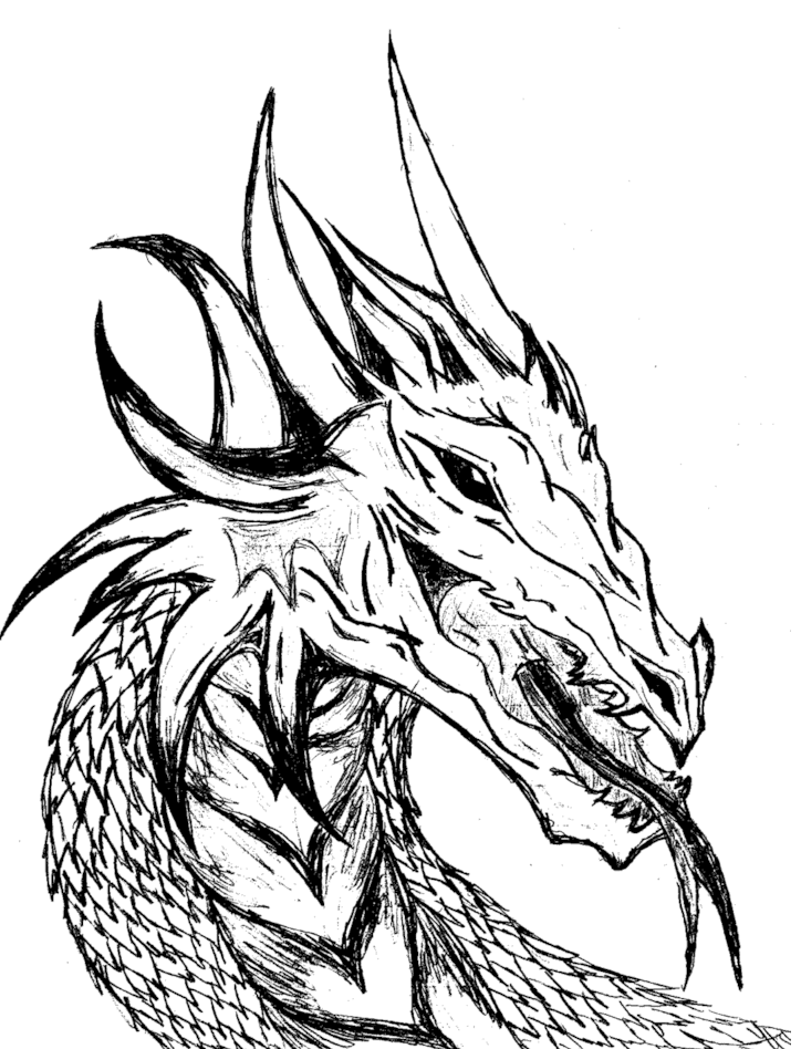 Dragon Clipart Black and White free download