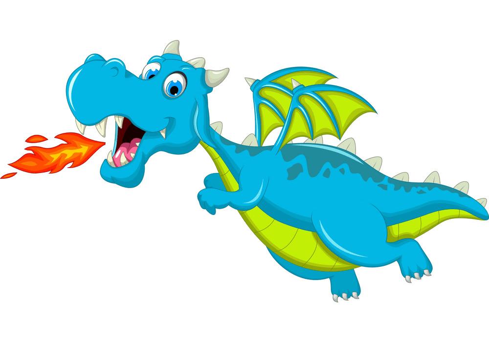 Fire Breath Blue Dragon clipart