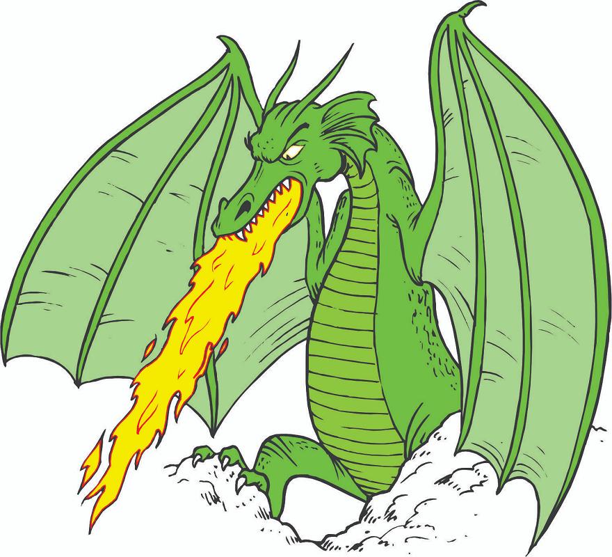 Fire Breath Green Dragon clipart free