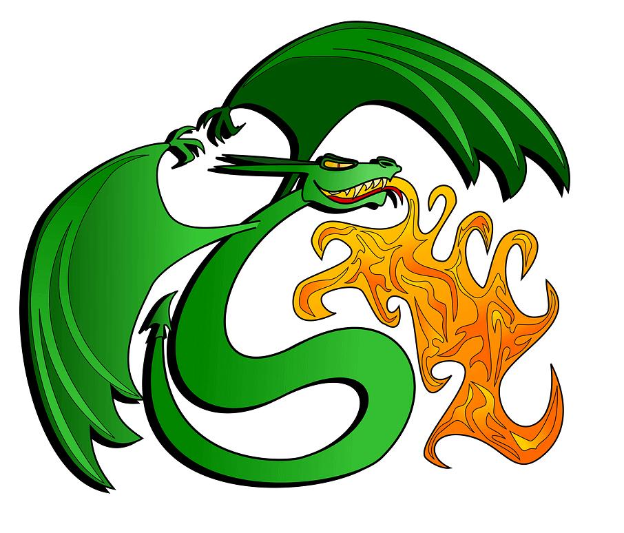 Fire Breath Green Dragon clipart