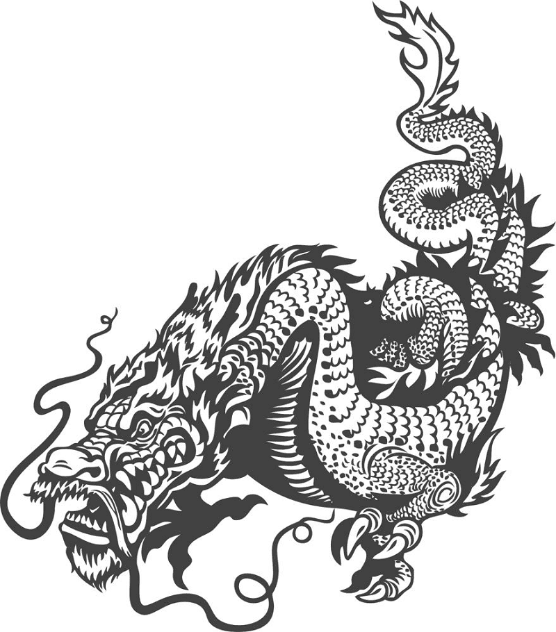 Free Dragon Clipart Black and White