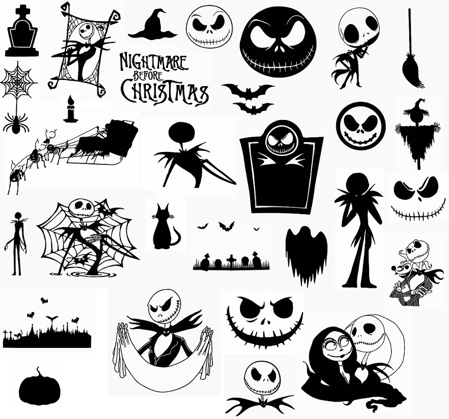 Nightmare Before Christmas Clipart Black and White 1