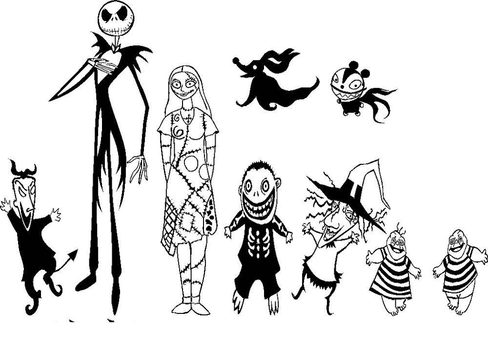 Nightmare Before Christmas Clipart Black and White 2