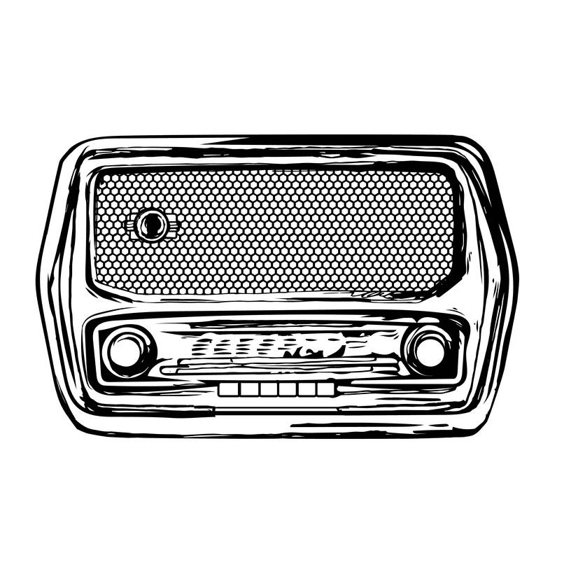Radio Clipart Black and White 1