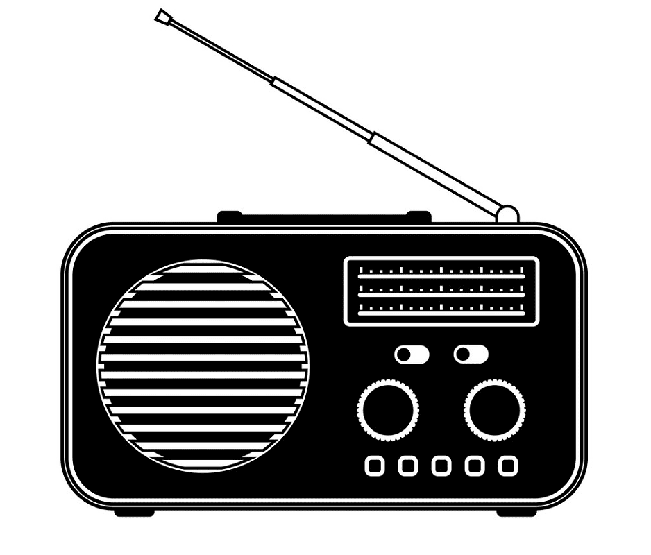 Radio Clipart Black and White 2