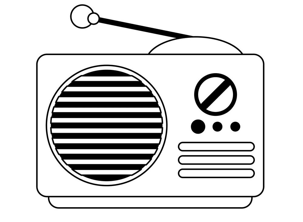 Radio Clipart Black and White 6