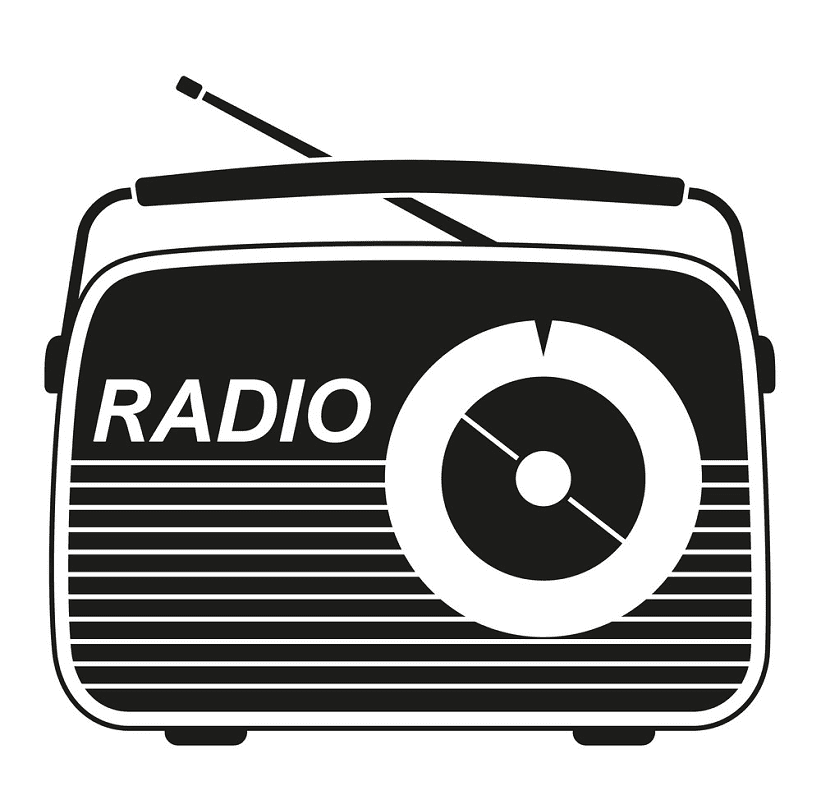 Radio Clipart Black and White png
