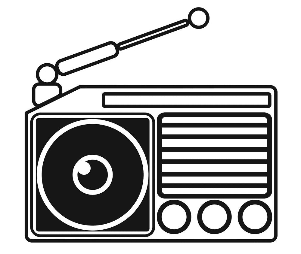 Radio Clipart Black and White