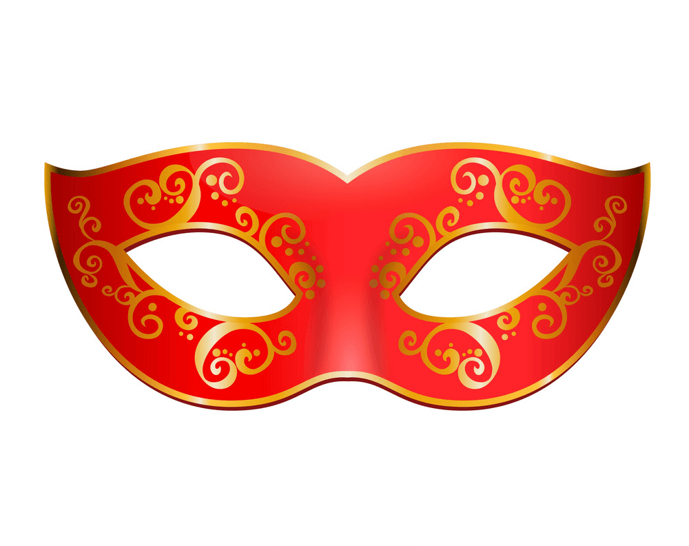 Red Mardi Gras Mask clipart
