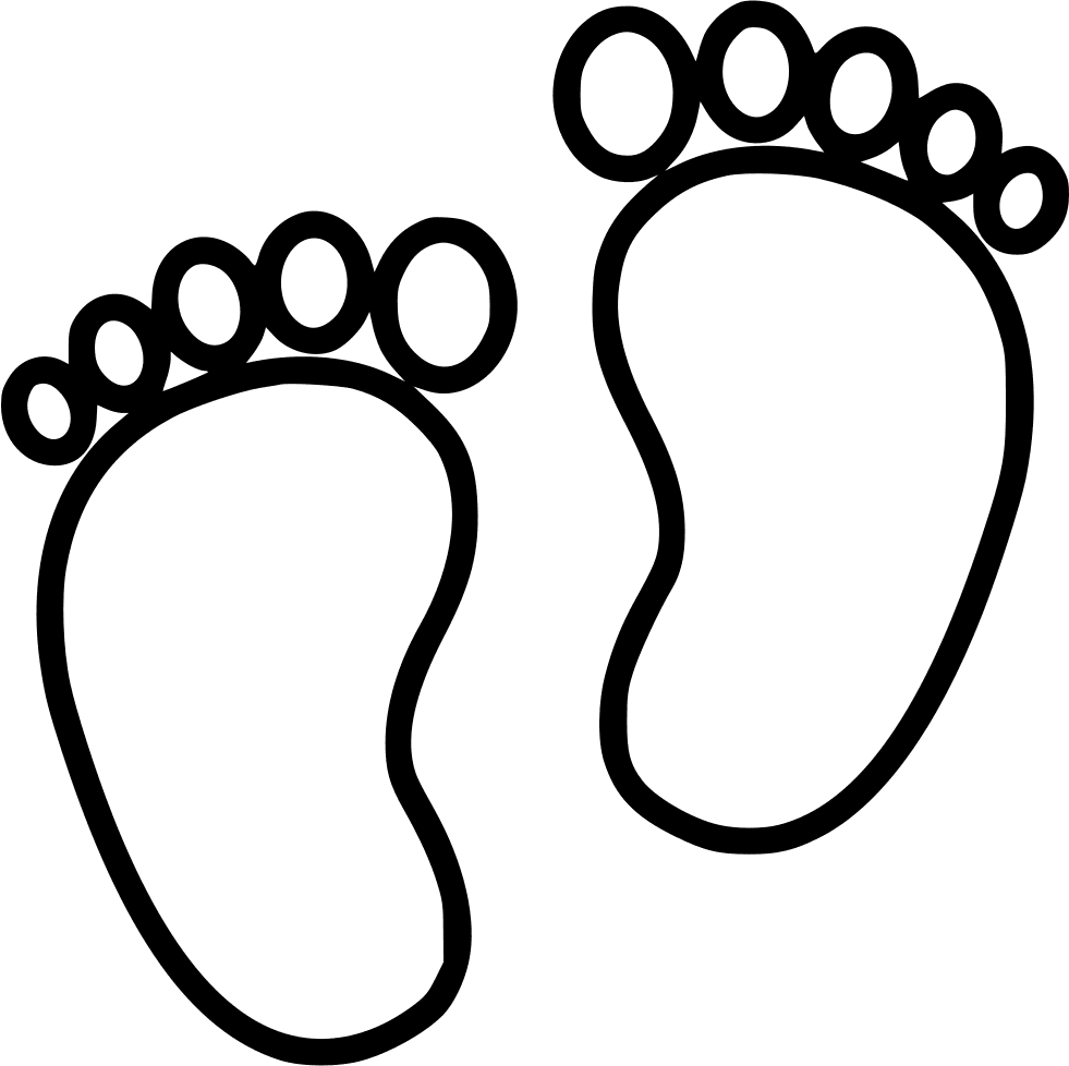 Baby Feet Clipart Black and White free