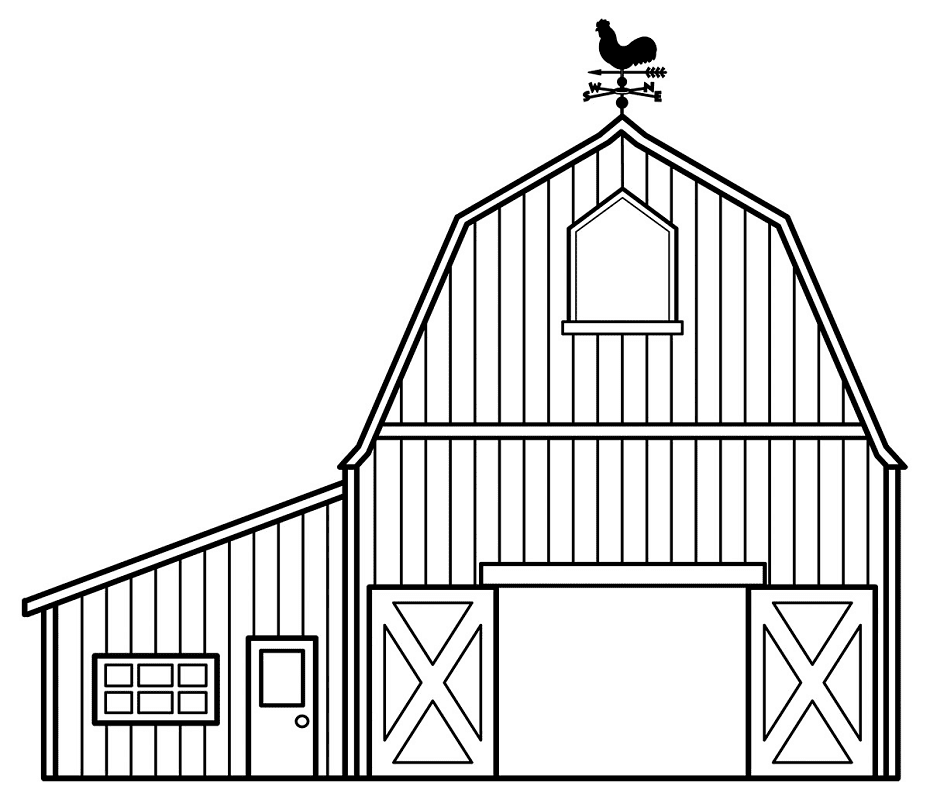Barn Clipart Black and White 2