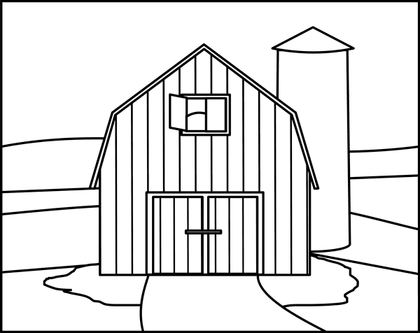 Barn Clipart Black and White 3