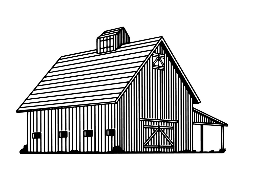 Barn Clipart Black and White free