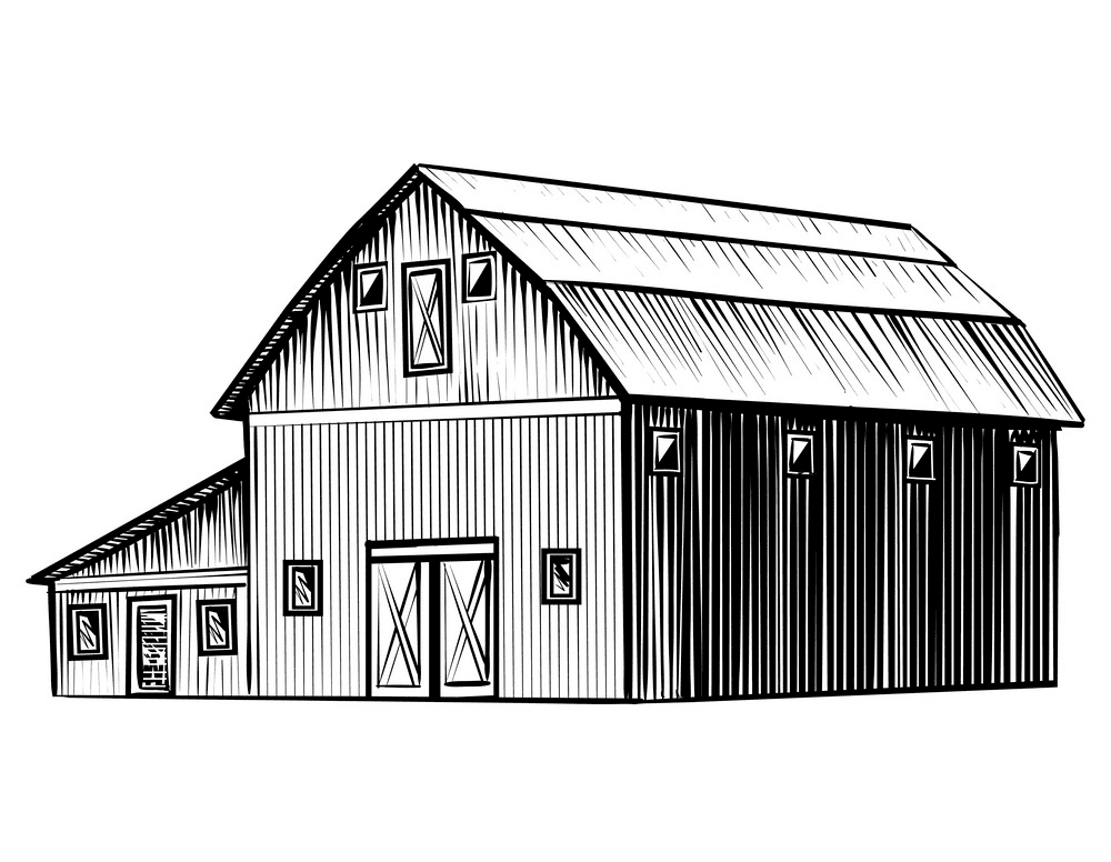 Barn Clipart Black and White png