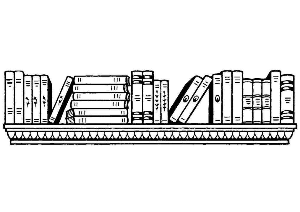 Bookshelf Clipart Black and White 1