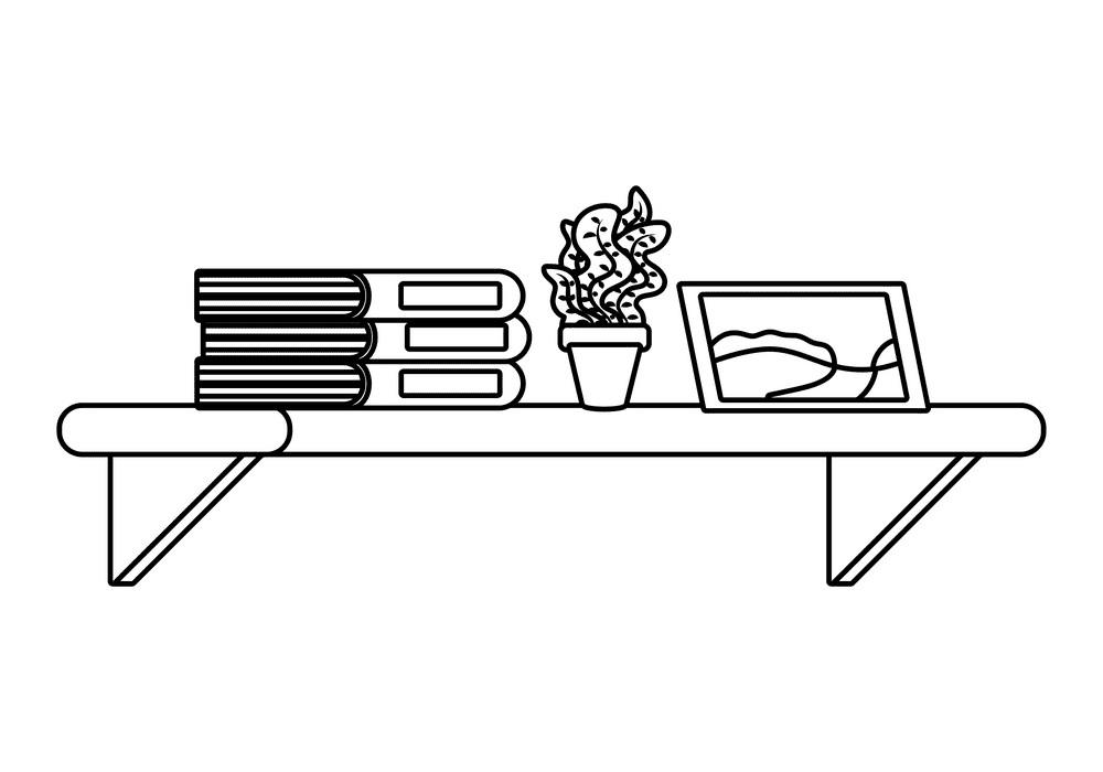 Bookshelf Clipart Black and White 2