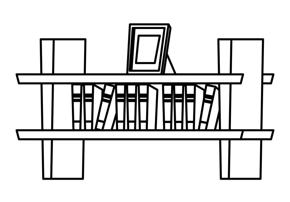 Bookshelf Clipart Black and White free