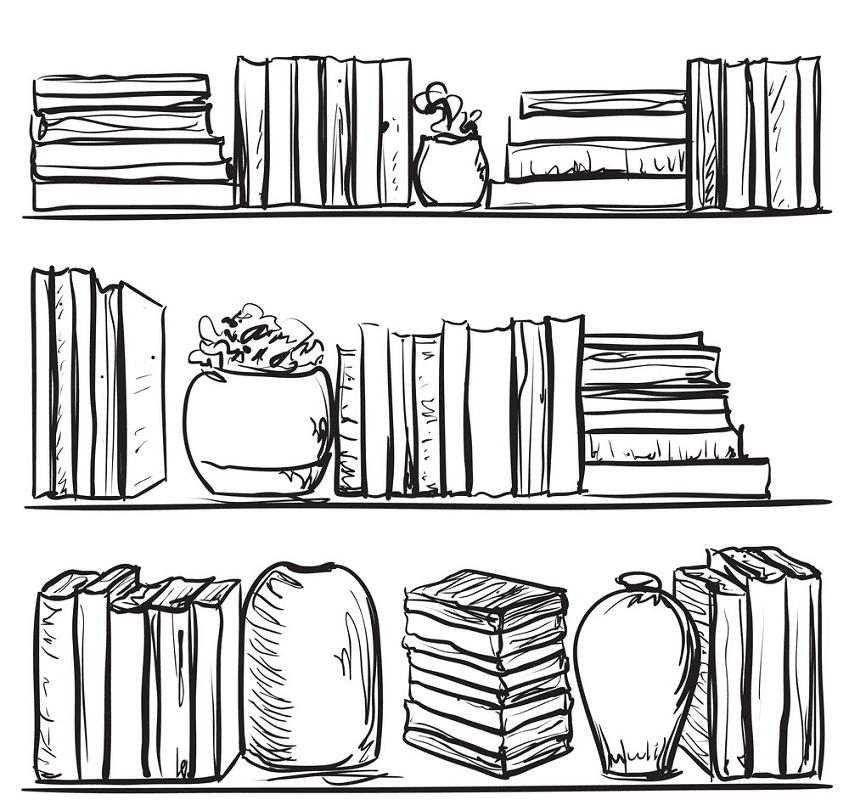 Bookshelf Clipart Black and White image
