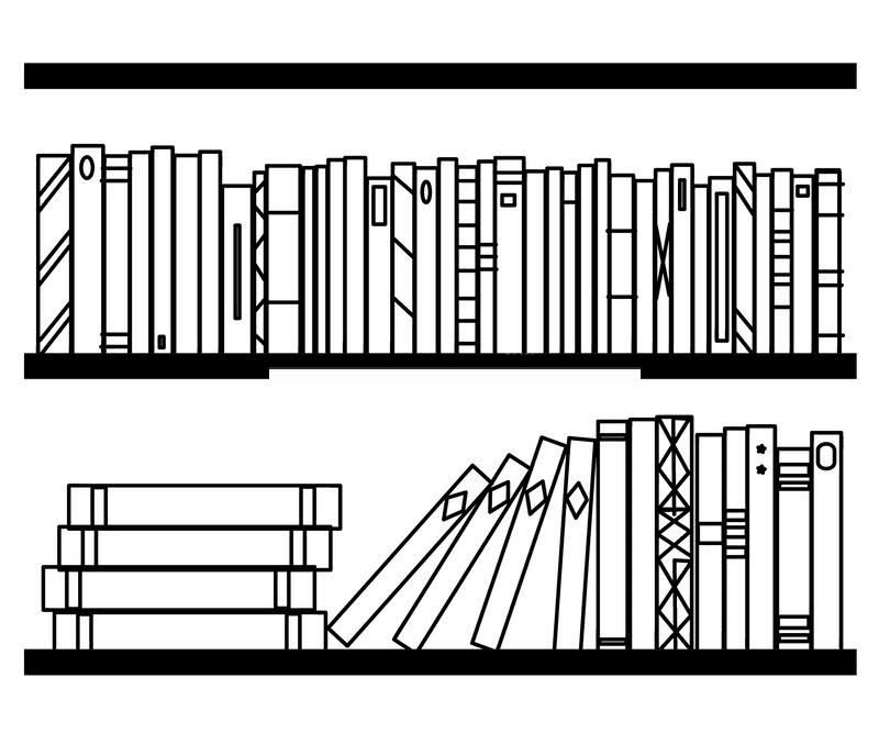 Bookshelf Clipart Black and White png image