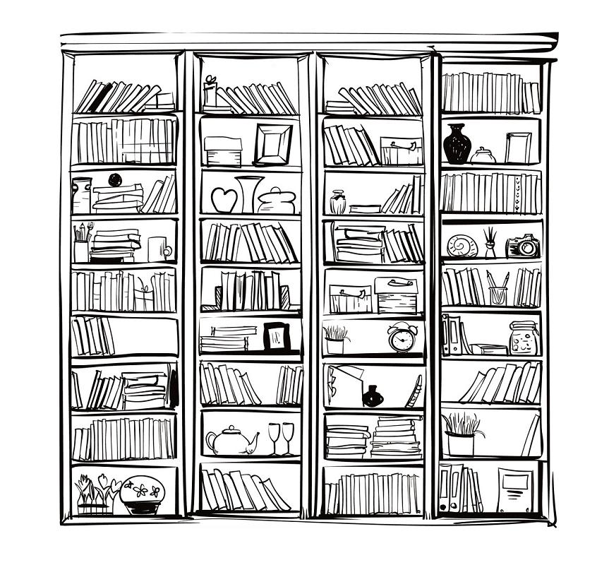 Bookshelf Clipart Black and White png