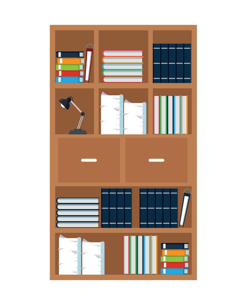 Bookshelf clipart for free