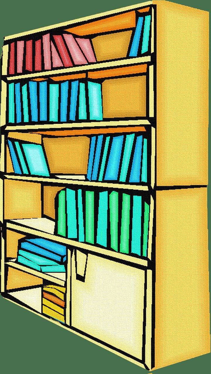 Bookshelf clipart transparent background
