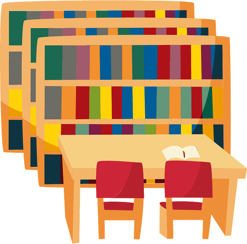 Bookshelves clipart transparent background