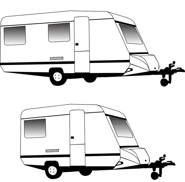 Camper Trailer Black and White Clipart